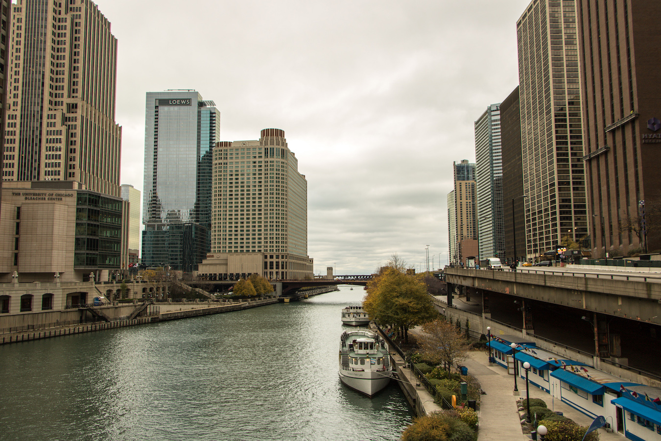 View to the east at the Chicago river
